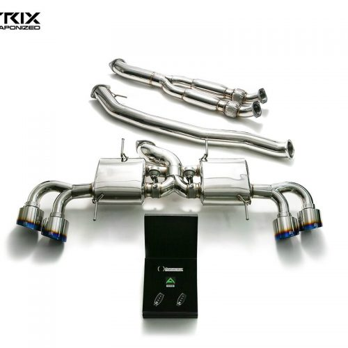 Armytrix – Stainless Steel (102mm) De-catted race Y-pipe + Mid-pipe + Valvetronic Muffler + Wireless Remote Control Kit for NISSAN GT-R R35 38L