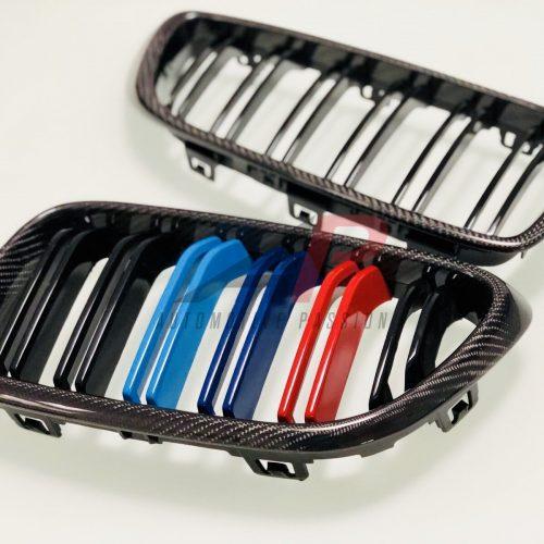 BMW F87 M2 Carbon Fibre Kidney Grilles Tri Colour