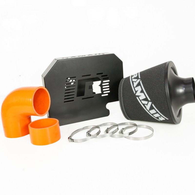 RAMAIR – Ford Focus ST 225 MK2 – Group A Air Filter Kit with RS Style ECU Relocation Bracket – Orange Hose