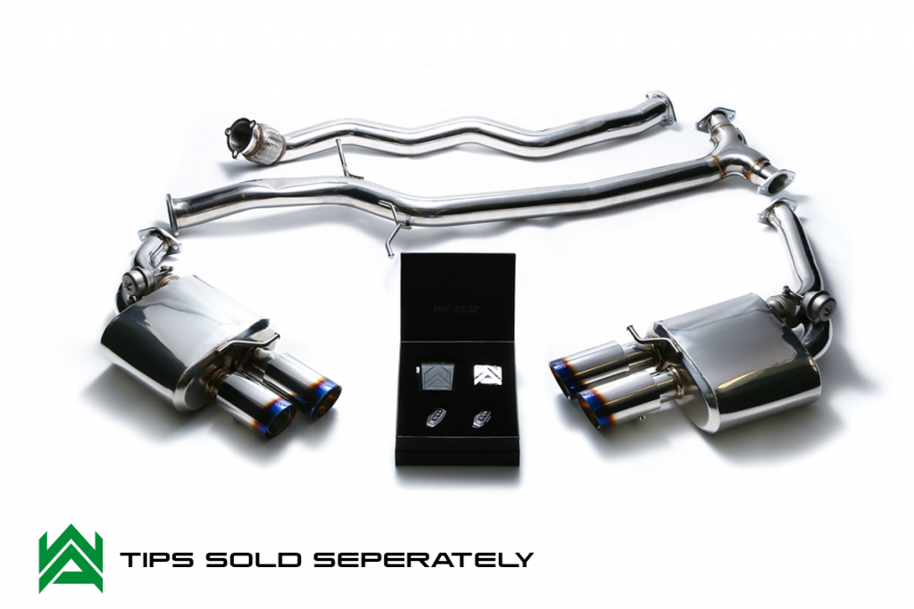 Armytrix – Stainless Steel Front pipe + Mid Y pipe + Valvetronic mufflers (L and R) + Wireless remote control kit for AUDI A5 B8 18 TFSI SPORTBACK