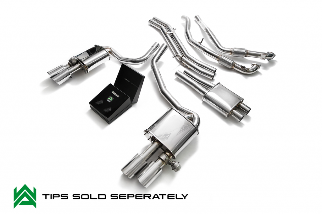 Armytrix – Stainless Steel Front pipe + mid pipe w/ resonator+ mid pipe + valvetronic muffler (L + R) + Wireless remote control kit for AUDI S4 B9 30 TFSI AVANT