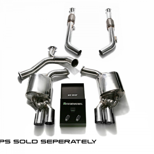 Armytrix – Stainless Steel Front pipe (L and R) + Front Y-pipe + Mid Y-pipe + Valvetronic Muffler (L and R) + Wireless Remote Control Kit (fits BRABUS quad rear diffuser before facelift) for MERCEDES-BENZ C-CLASS C205 C400