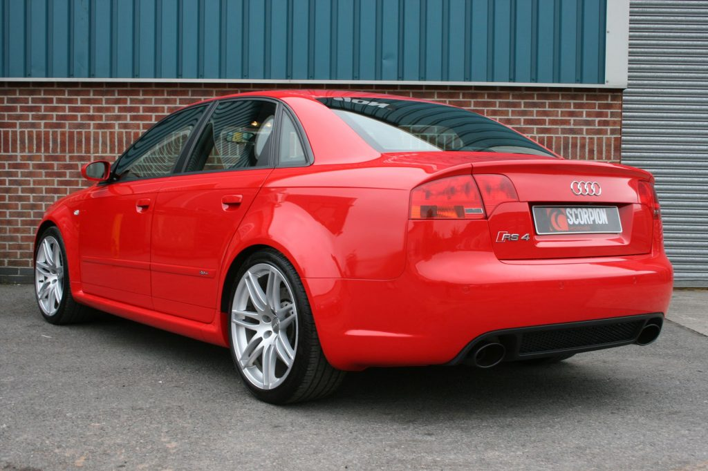 Scorpion Exhausts Audi RS4 4.2 V8 B7  2006 2008 Resonated cat-back system with vacuum valves – EVO Ceramic Tips