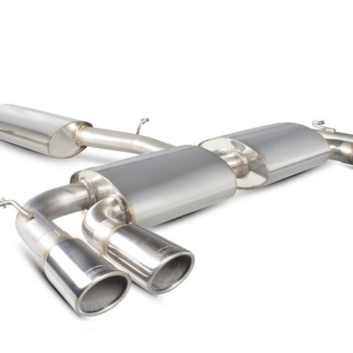 Scorpion Exhausts Volkswagen Golf MK7 R 2014 2016 Resonated cat-back system with no valves – Monaco (quad) Tips