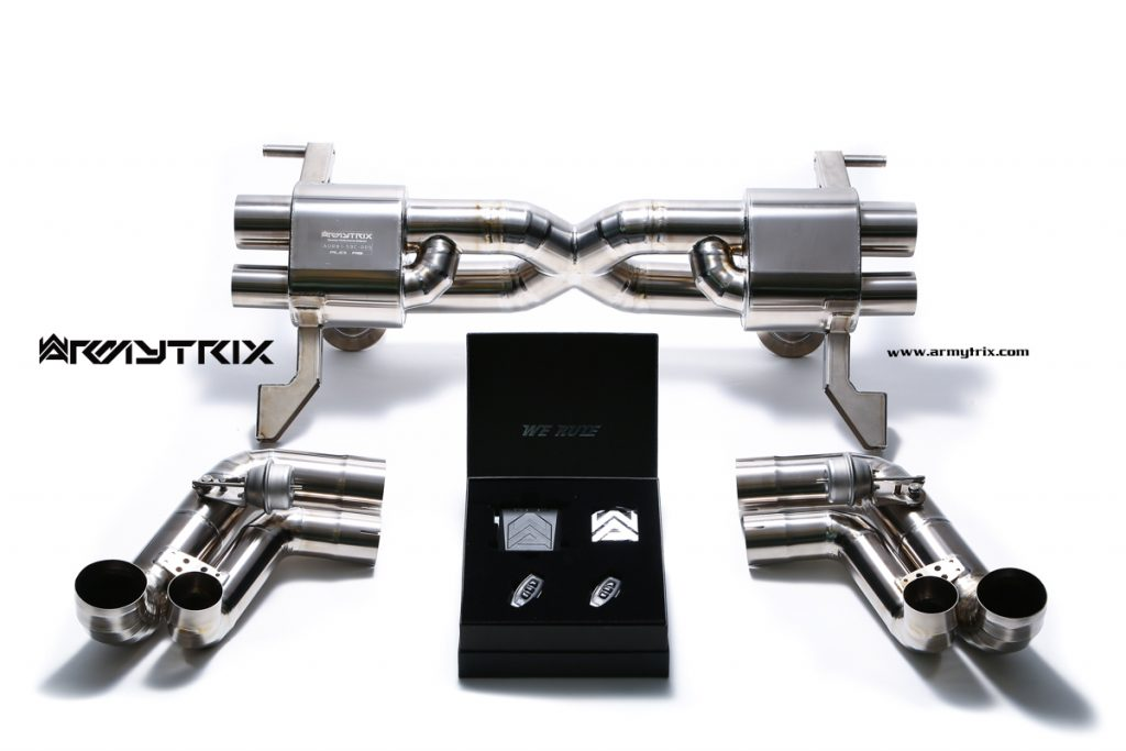 Armytrix – Titanium X pipe mufflers + Valvetronic tailpipe section (L and R) + Wireless remote control kit for AUDI R8 42 42 FSI COUPE