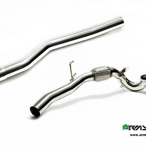 Armytrix – Stainless Steel Ceramic Coated Sport cat pipe with 200 cpsi catalytic converters + Secondary downpipe with cat simulator for VW GOLF MK7 20 TSI R