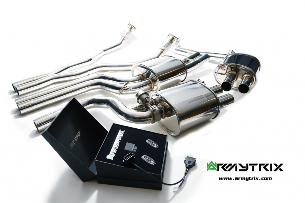 Armytrix – Stainless Steel Front Y pipe + Mid pipe with resonator + Valvetronic mufflers (L and R) + Wireless remote control kit for AUDI S5 B8 42 FSI COUPE