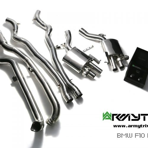 Armytrix – Stainless Steel Front pipe (L and R) + Mid Y pipe + Valvetronic mufflers (L and R) + Wireless remote control kit for BMW 5 SERIES F10 M5
