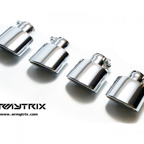 Armytrix – Stainless Steel Quad Chrome Silver Tips (4x Oval tips 73X120mm) for MERCEDES-BENZ C-CLASS W204 C180